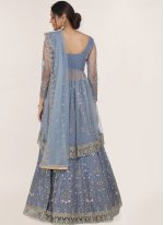 Blue Net Reception A Line Lehenga Choli