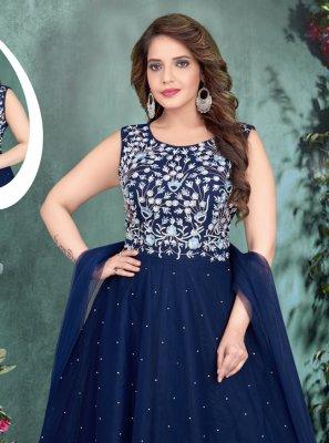 Blue Net Resham Designer Gown