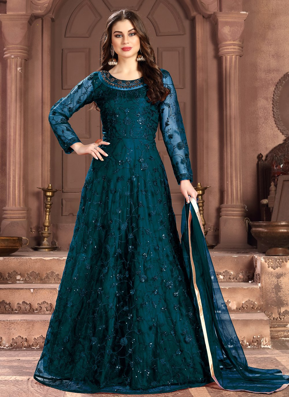Blue Net Sequins Salwar Kameez