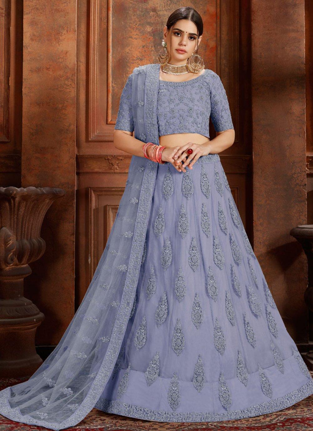 Blue Net Thread Designer Lehenga Choli