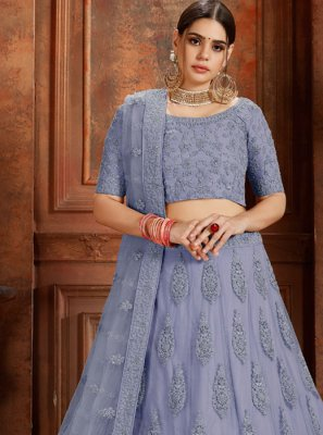 Blue Net Thread Designer Lehenga Choli