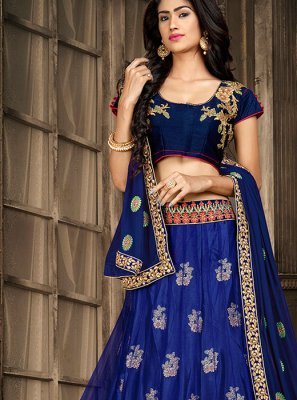Blue Party Art Silk A Line Lehenga Choli