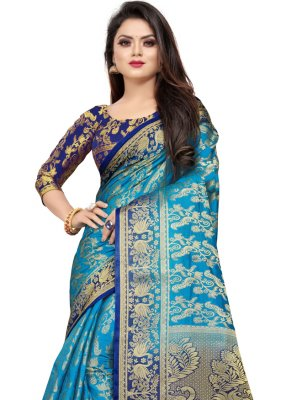 Blue Party Contemporary Saree