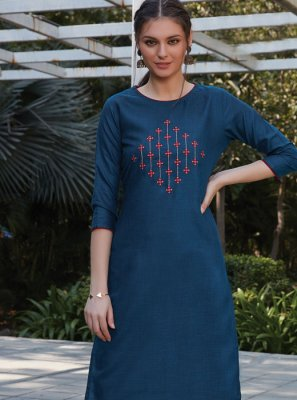 Blue Party Cotton Kurta