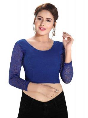 Blue Party Cotton Lycra Blouse