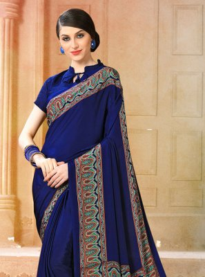 Blue Party Faux Crepe Casual Saree