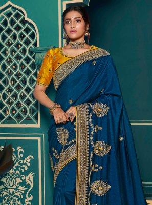 Blue Party Silk Classic Saree