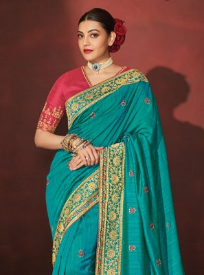 Blue Party Silk Saree