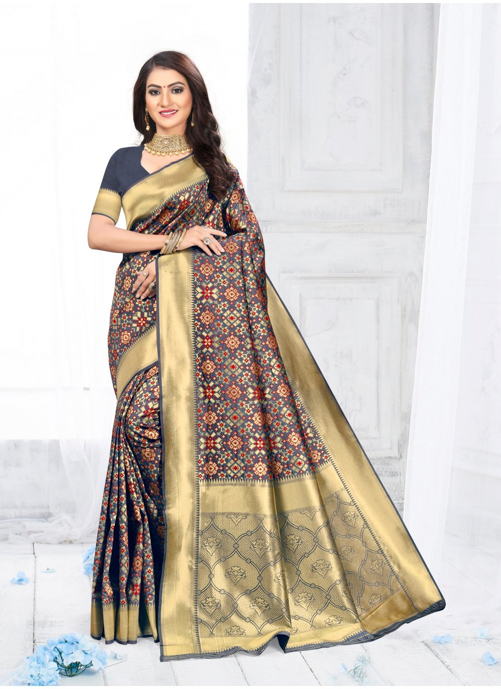 Blue Party Silk Traditional Saree