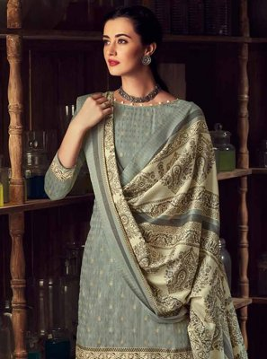 Blue Pashmina Digital Print Bollywood Salwar Kameez