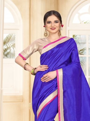 Blue Patch Border Casual Classic Designer Saree