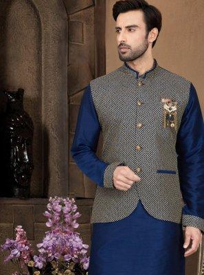 Blue Plain Art Dupion Silk Kurta Payjama With Jacket
