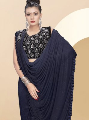 Blue Plain Fancy Fabric Traditional Saree