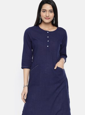 Blue Plain Rayon Party Wear Kurti