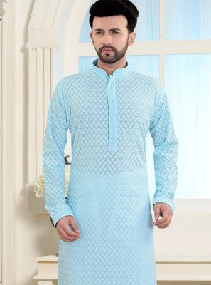 Blue Poly Cotton Reception Kurta Pyjama