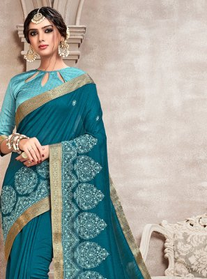 Blue Poly Silk Silk Saree