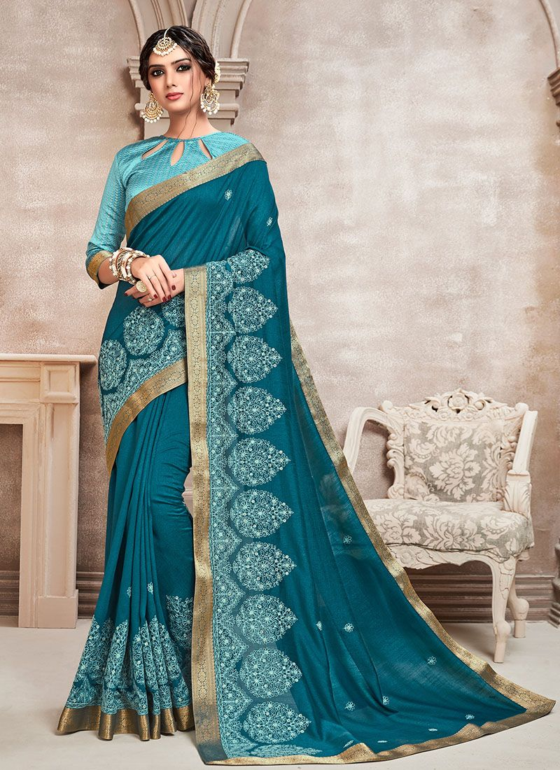 Blue Poly Silk Silk Saree