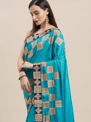 Blue Poly Silk Traditional Saree