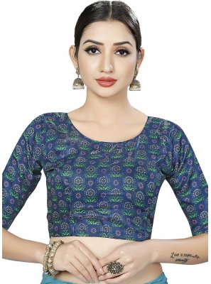 Blue Print Art Banarasi Silk Designer Blouse