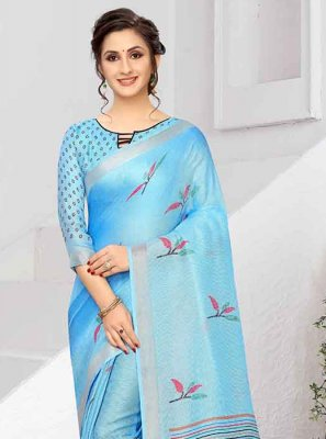 Blue Print Art Silk Printed Saree