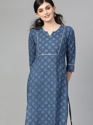 Blue Print Cotton Designer Kurti