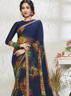Blue Print Mehndi Designer Saree