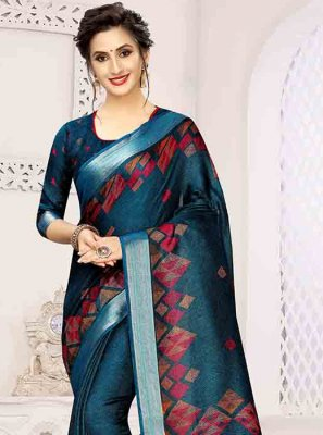 Blue Print Printed Saree