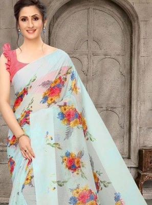 Blue Printed Classic Designer Saree