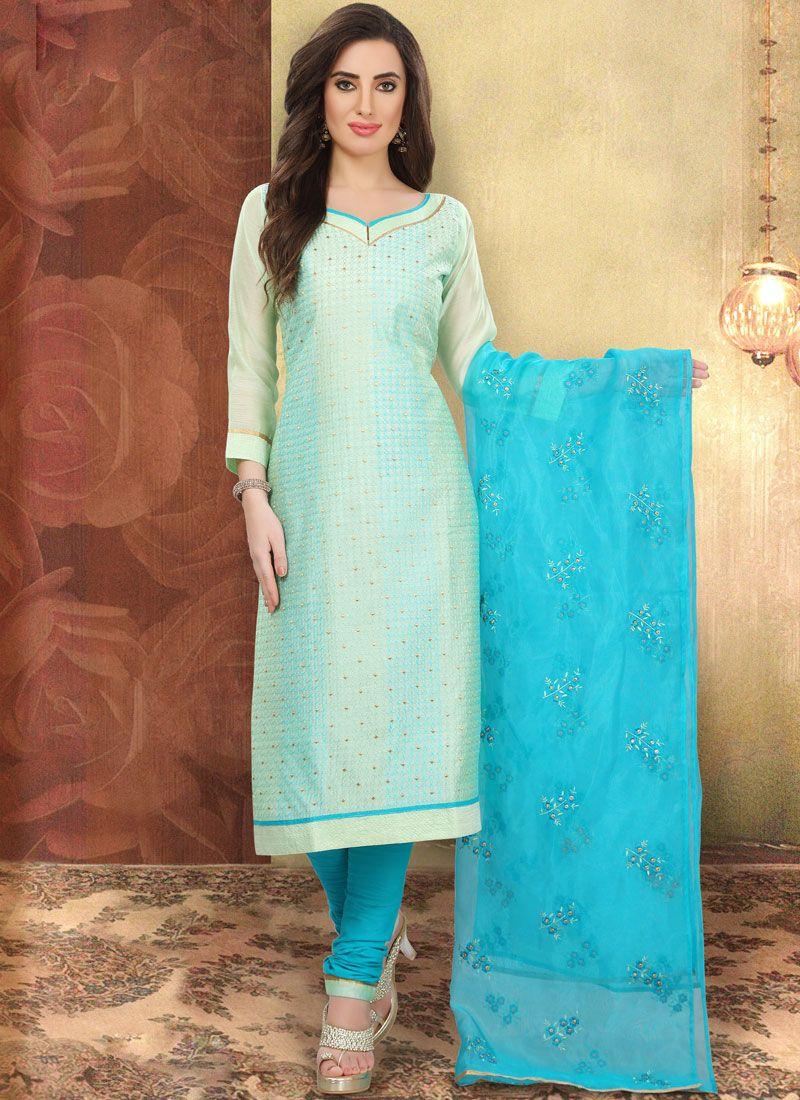 Blue Printed Cotton Churidar Designer Suit