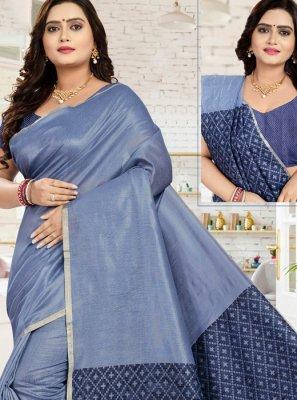 Blue Printed Cotton Classic Saree