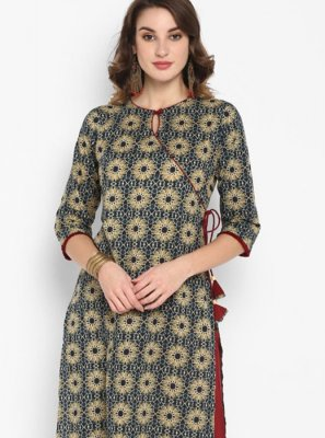 Blue Printed Cotton Designer Kurti