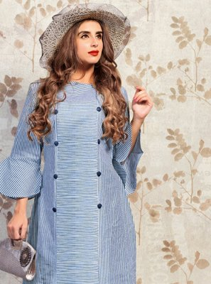 Blue Printed Cotton Party Wear Kurti