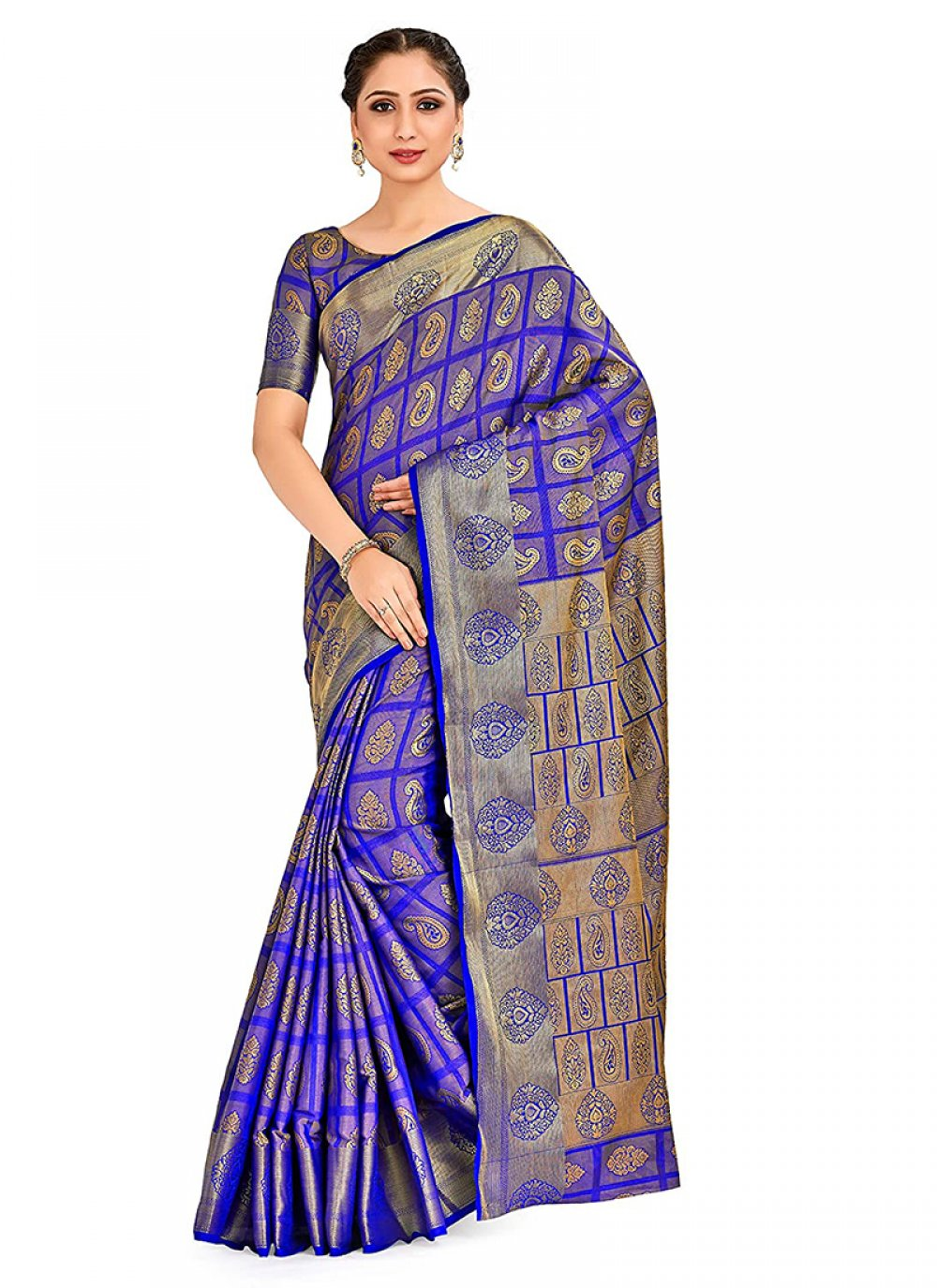 Blue Printed Designer Traditional Saree