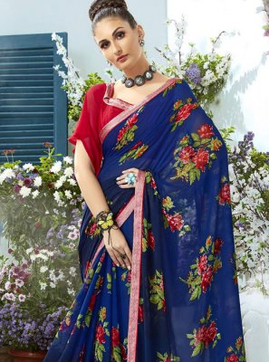 Blue Printed Georgette Designer Saree