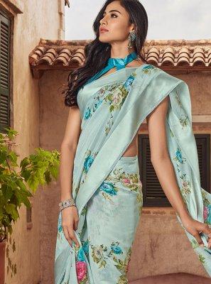 Blue Printed Linen Classic Designer Saree