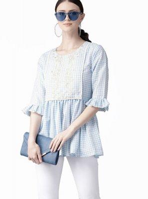 Blue Printed Muslin Designer Kurti