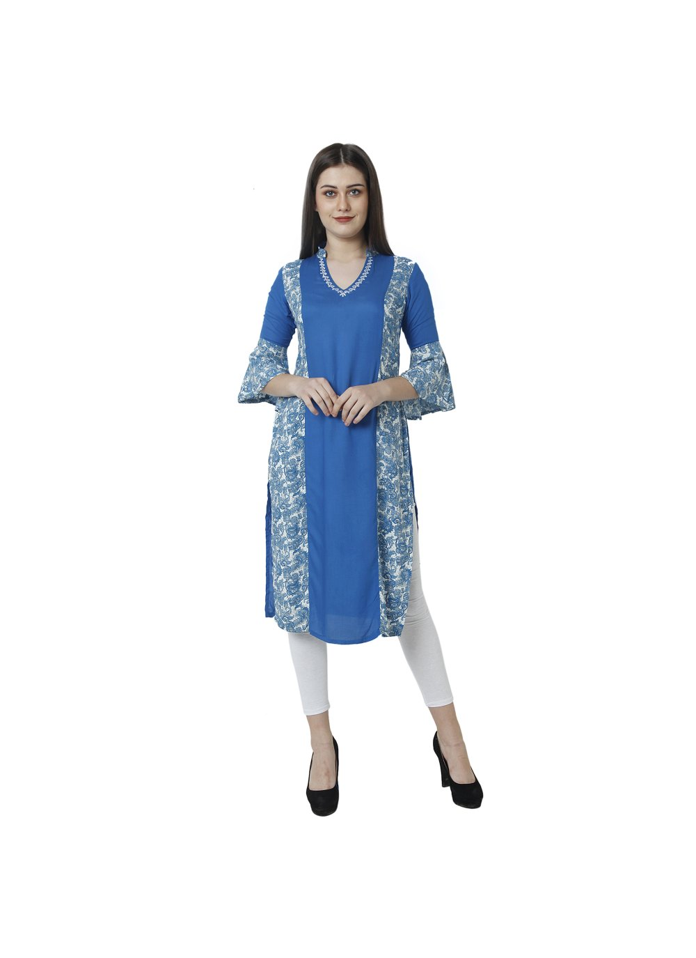 Blue Printed Party Casual Kurti