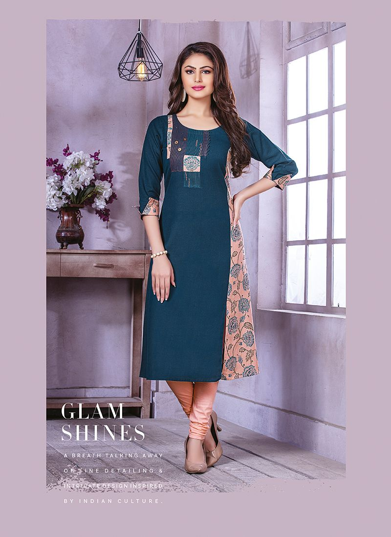Blue Printed Party Party Wear Kurti