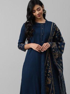 Blue Printed Rayon Designer Palazzo Salwar Suit
