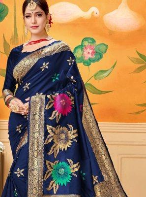 Blue Printed Reception Designer Traditional Saree