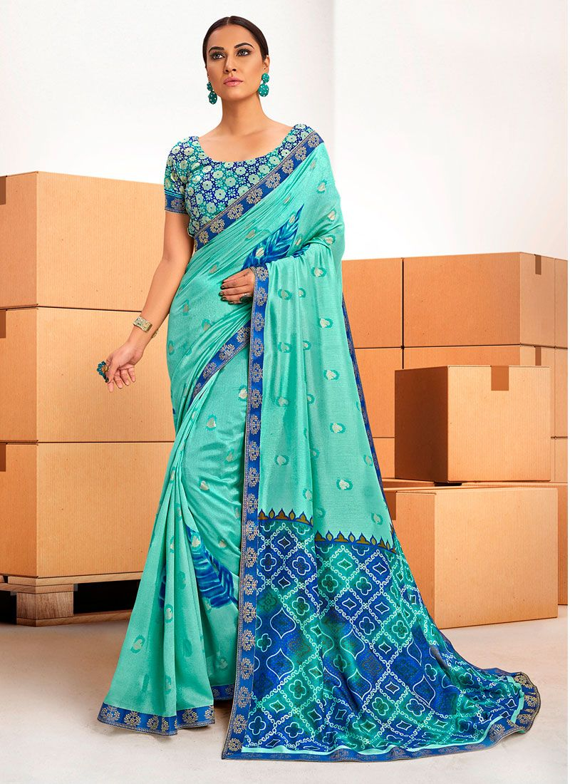Blue Printed Saree