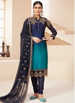Blue Rangoli Party Designer Pakistani Salwar Suit