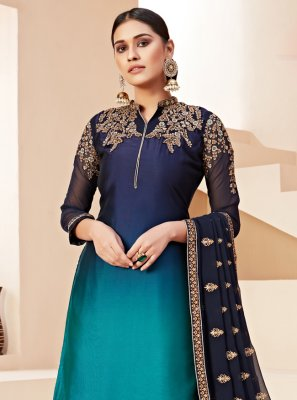 Blue Rangoli Party Designer Pakistani Salwar Suit