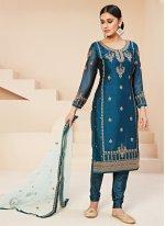 Blue Rangoli Trendy Salwar Suit