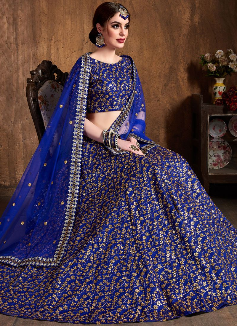 Blue Raw Silk Lehenga Choli