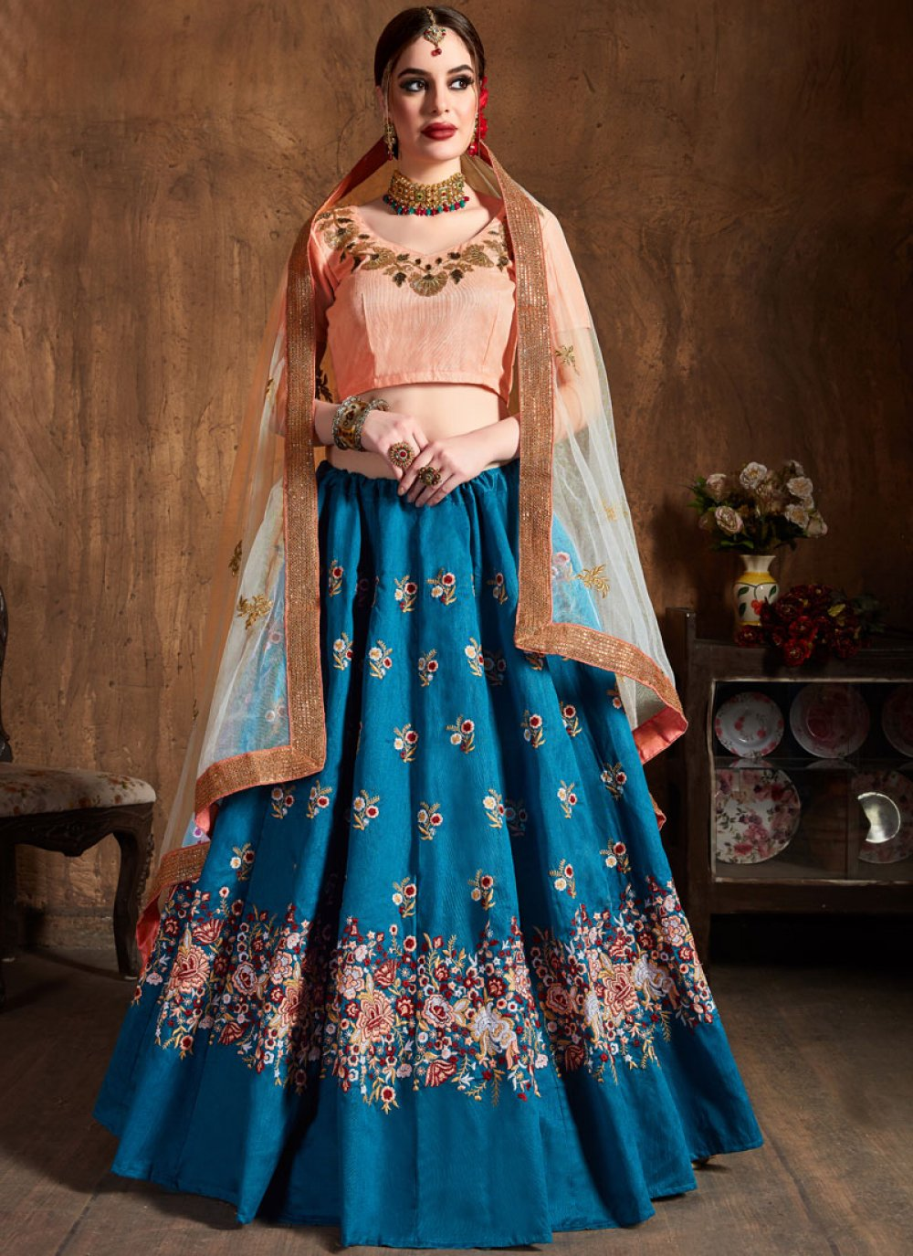 Blue Raw Silk Lehenga Choli