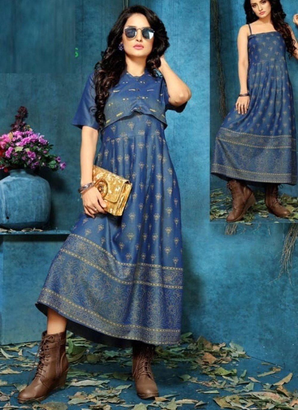 Blue Rayon Designer Kurti