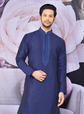Blue Reception Art Banarasi Silk Kurta Payjama With Jacket