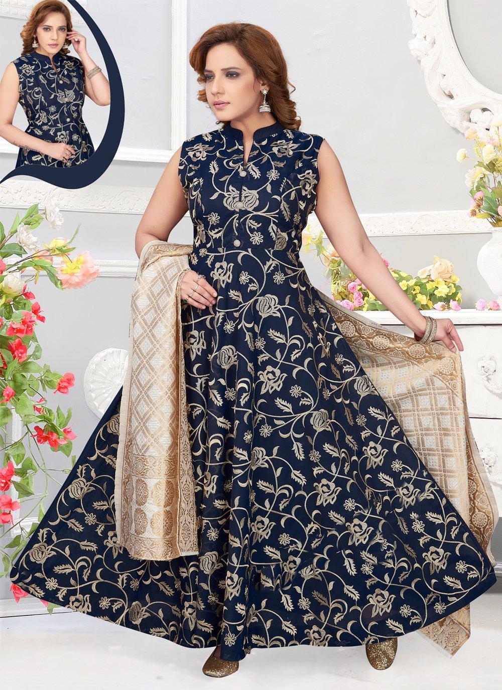 Blue Reception Chanderi Cotton Anarkali Salwar Suit