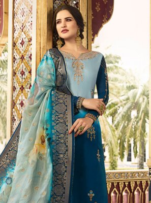 Blue Reception Churidar Salwar Kameez
